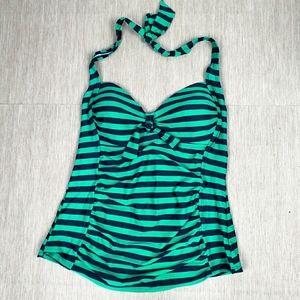 Merona Green Black Stripes Tankini Top